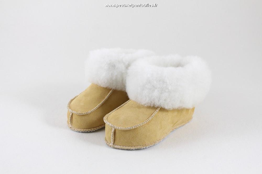 chaussons en peau de mouton avec semelles fine mod le pour enfants fabrication fran aise. Black Bedroom Furniture Sets. Home Design Ideas