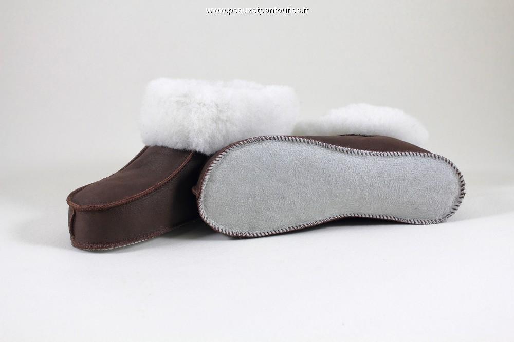 chaussons mouton chaussons souple en peau de mouton mod le marron fabrication fran aise. Black Bedroom Furniture Sets. Home Design Ideas
